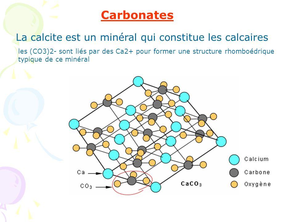 Carbonates La calcite est un minéral qui constitue les calcaires les (CO3)2- sont liés par des Ca2+ pour former une structure rhomboédrique typique de