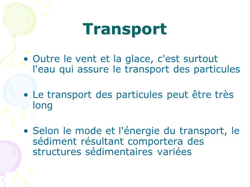 Transport Outre le vent et la glace, c'est surtout l'eau qui assure le transport des particules Le transport des particules peut être très long Selon