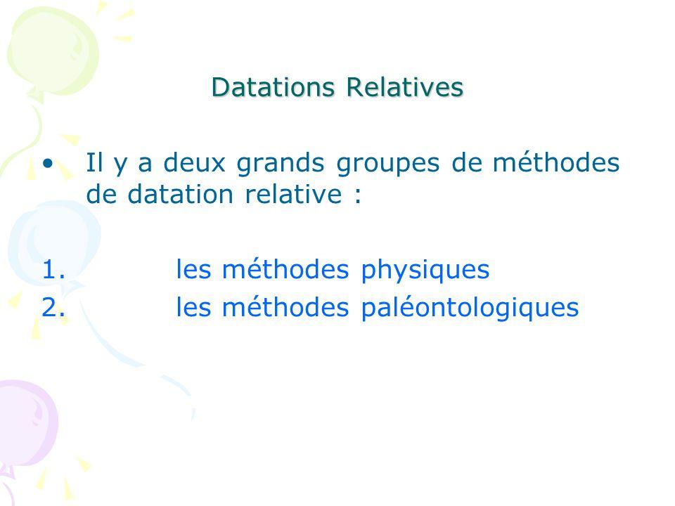 Il y a deux grands groupes de méthodes de datation relative : 1.les méthodes physiques 2.les méthodes paléontologiques Datations Relatives