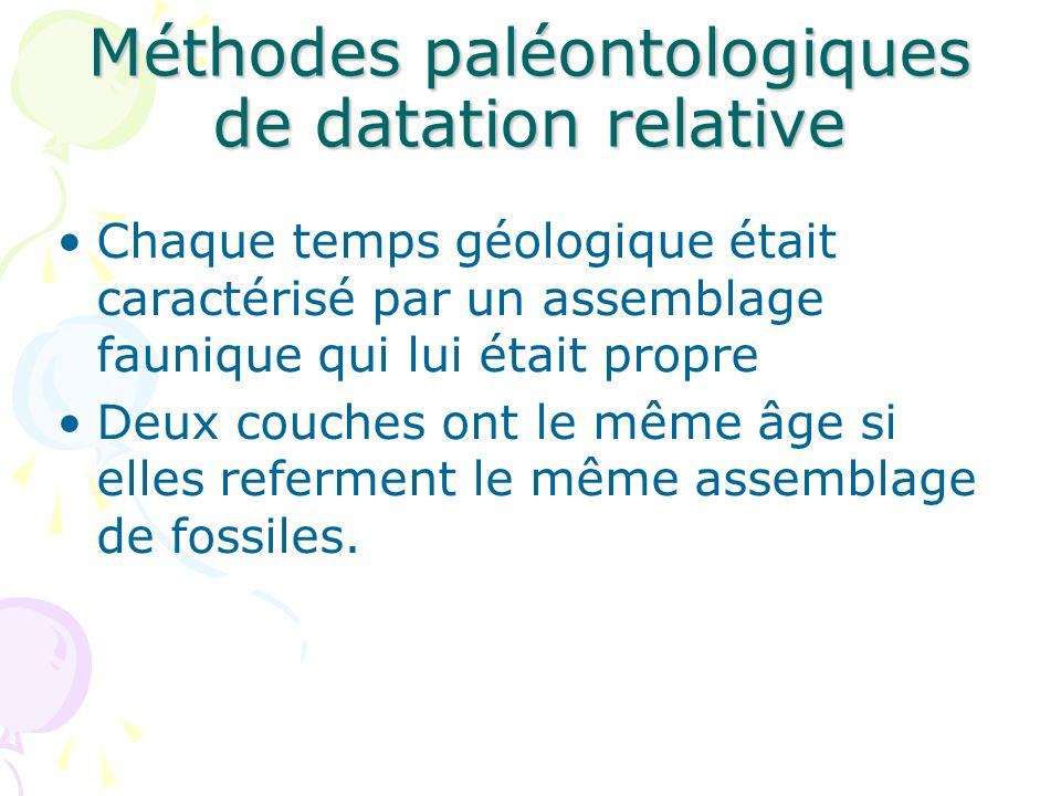 Méthodes paléontologiques de datation relative Chaque temps géologique était caractérisé par un assemblage faunique qui lui était propre Deux couches