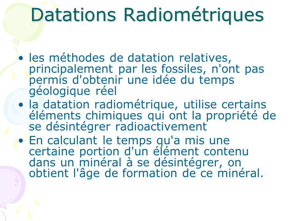 Datations Radiométriques les méthodes de datation relatives, principalement par les fossiles, n'ont pas permis d'obtenir une idée du temps géologique