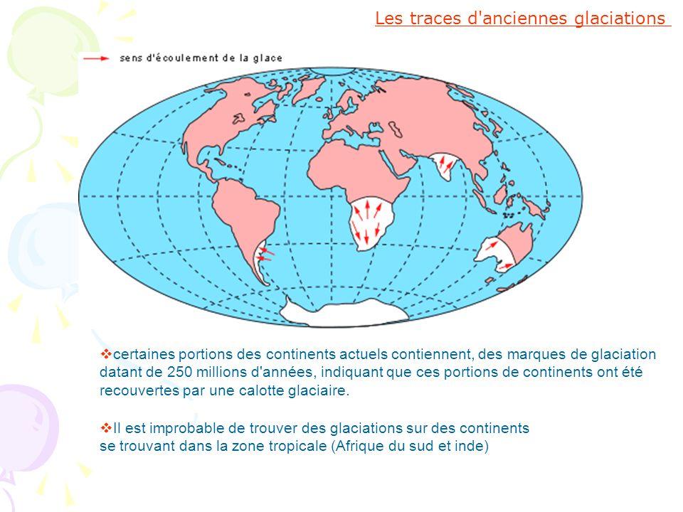 Les traces d'anciennes glaciations certaines portions des continents actuels contiennent, des marques de glaciation datant de 250 millions d'années, i