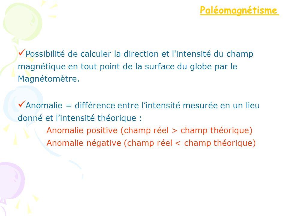 Possibilité de calculer la direction et l'intensité du champ magnétique en tout point de la surface du globe par le Magnétomètre. Anomalie = différenc