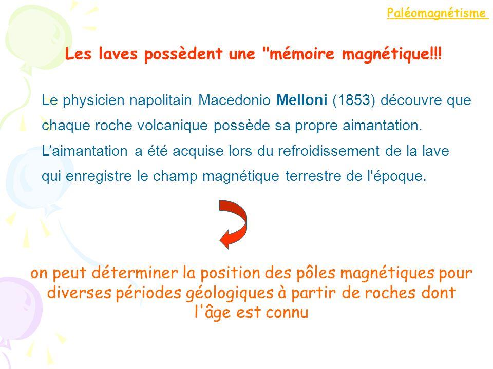 Le physicien napolitain Macedonio Melloni (1853) découvre que chaque roche volcanique possède sa propre aimantation. Laimantation a été acquise lors d