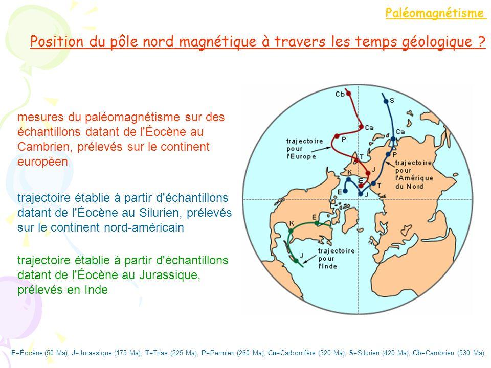 Position du pôle nord magnétique à travers les temps géologique ? mesures du paléomagnétisme sur des échantillons datant de l'Éocène au Cambrien, prél
