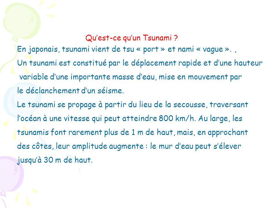 En japonais, tsunami vient de tsu « port » et nami « vague »., Un tsunami est constitué par le déplacement rapide et dune hauteur variable dune import