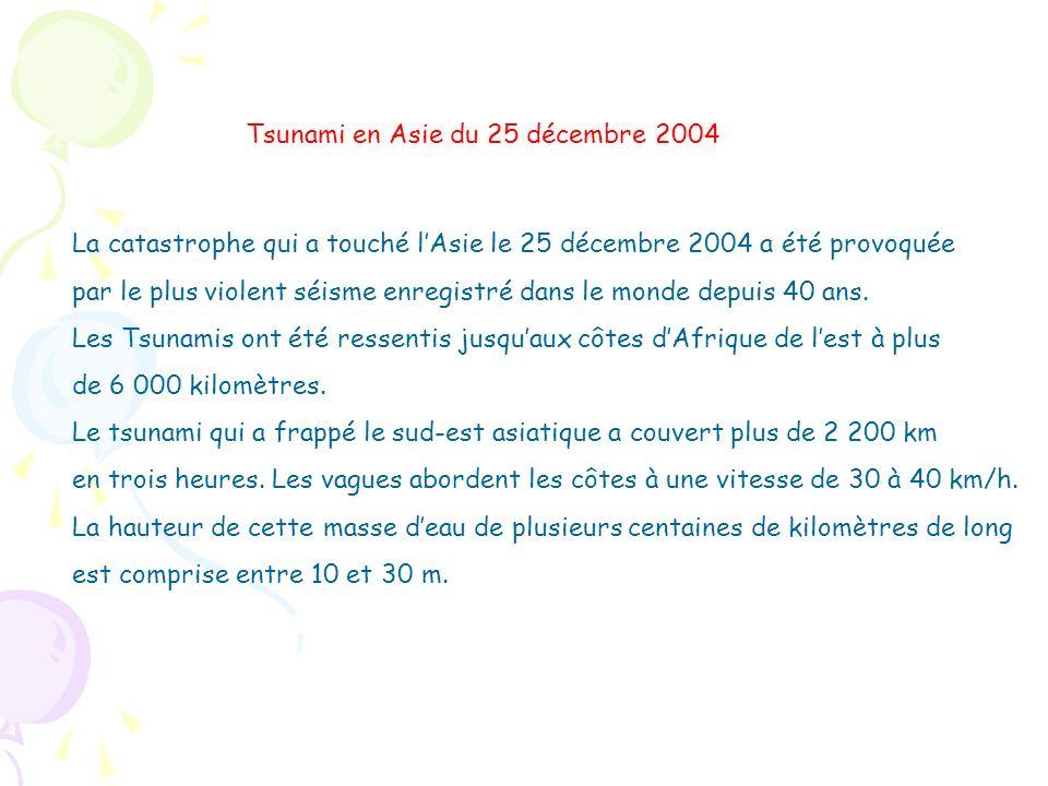 La catastrophe qui a touché lAsie le 25 décembre 2004 a été provoquée par le plus violent séisme enregistré dans le monde depuis 40 ans. Les Tsunamis