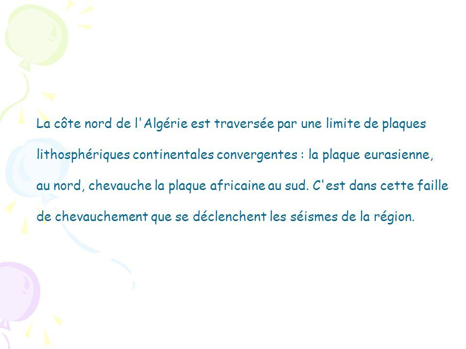 La côte nord de l'Algérie est traversée par une limite de plaques lithosphériques continentales convergentes : la plaque eurasienne, au nord, chevauch