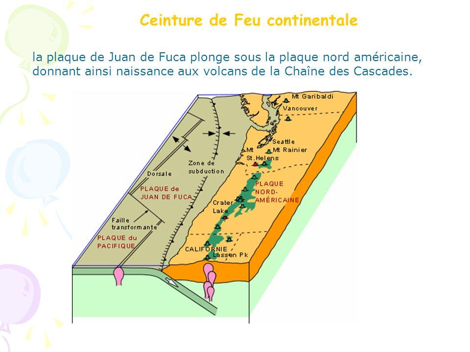 Ceinture de Feu continentale la plaque de Juan de Fuca plonge sous la plaque nord américaine, donnant ainsi naissance aux volcans de la Chaîne des Cas