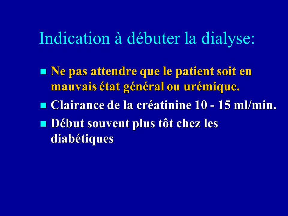 Indication à débuter la dialyse: Ne pas attendre que le patient soit en mauvais état général ou urémique. Ne pas attendre que le patient soit en mauva