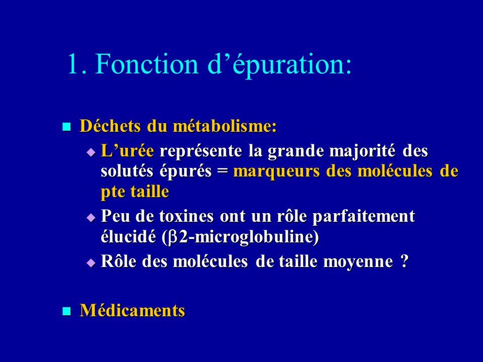 1. Fonction dépuration: Déchets du métabolisme: Déchets du métabolisme: Lurée représente la grande majorité des solutés épurés = marqueurs des molécul