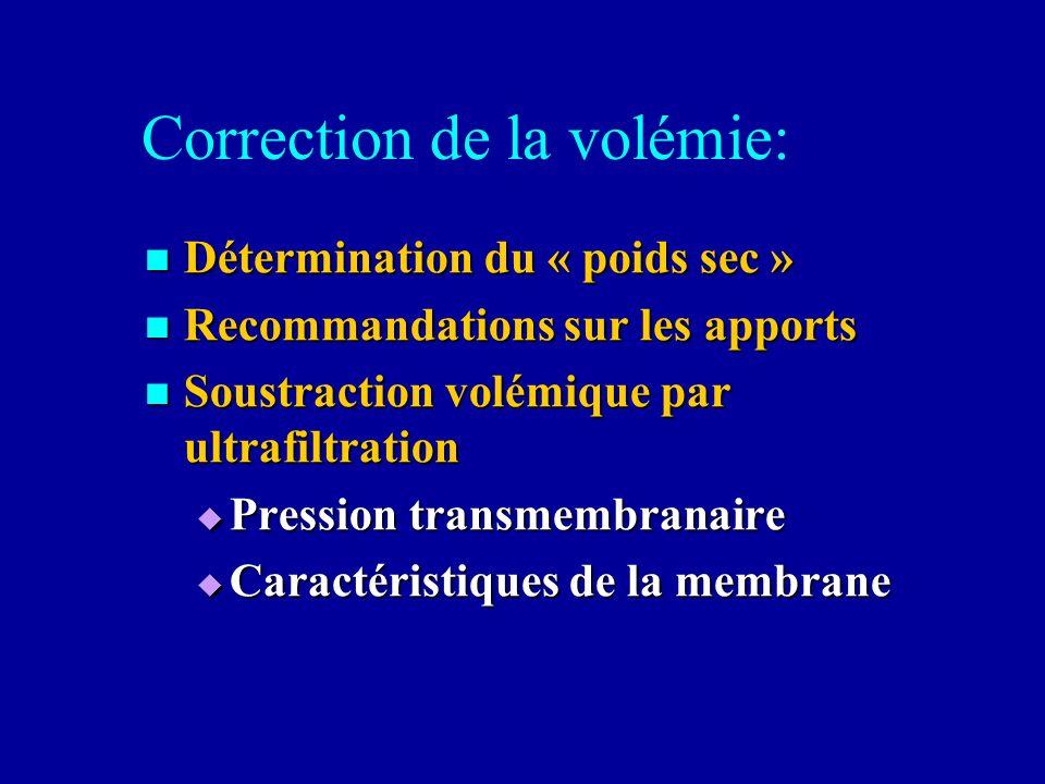 Correction de la volémie: Détermination du « poids sec » Détermination du « poids sec » Recommandations sur les apports Recommandations sur les apport