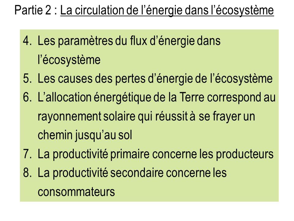 Partie 2 : La circulation de lénergie dans lécosystème 4.