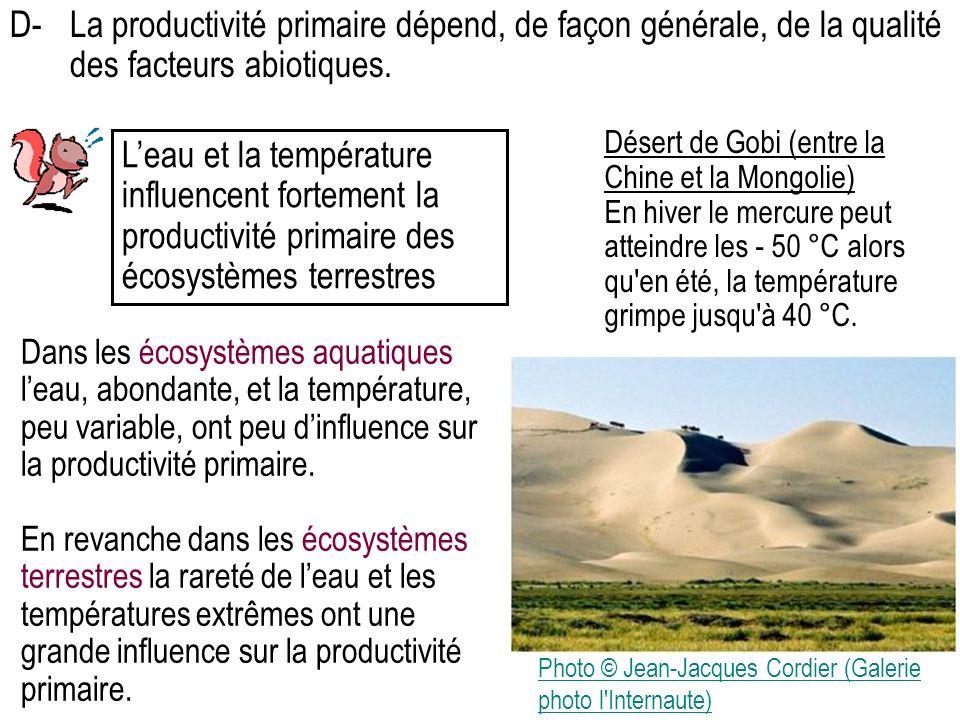 Leau et la température influencent fortement la productivité primaire des écosystèmes terrestres Dans les écosystèmes aquatiques leau, abondante, et la température, peu variable, ont peu dinfluence sur la productivité primaire.