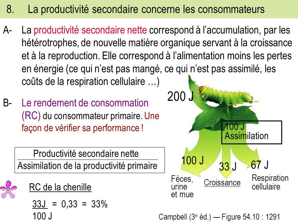 8.La productivité secondaire concerne les consommateurs B-Le rendement de consommation (RC) du consommateur primaire.