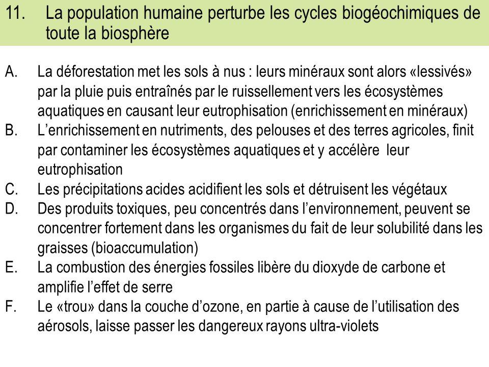 A.La déforestation met les sols à nus : leurs minéraux sont alors «lessivés» par la pluie puis entraînés par le ruissellement vers les écosystèmes aquatiques en causant leur eutrophisation (enrichissement en minéraux) B.Lenrichissement en nutriments, des pelouses et des terres agricoles, finit par contaminer les écosystèmes aquatiques et y accélère leur eutrophisation C.Les précipitations acides acidifient les sols et détruisent les végétaux D.Des produits toxiques, peu concentrés dans lenvironnement, peuvent se concentrer fortement dans les organismes du fait de leur solubilité dans les graisses (bioaccumulation) E.La combustion des énergies fossiles libère du dioxyde de carbone et amplifie leffet de serre F.Le «trou» dans la couche dozone, en partie à cause de lutilisation des aérosols, laisse passer les dangereux rayons ultra-violets 11.La population humaine perturbe les cycles biogéochimiques de toute la biosphère