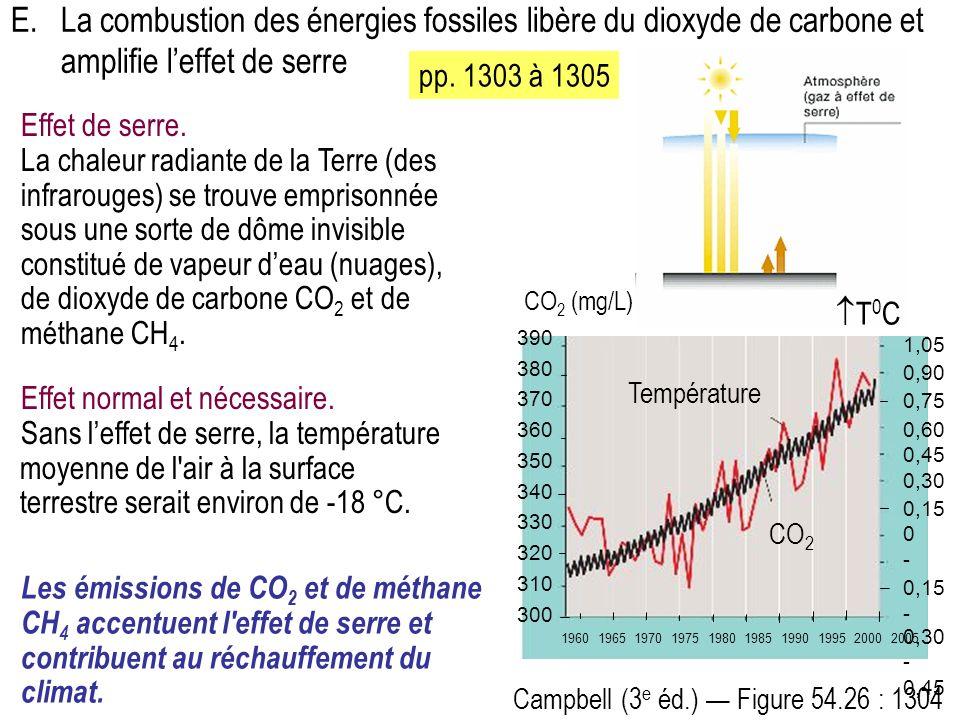 E.La combustion des énergies fossiles libère du dioxyde de carbone et amplifie leffet de serre Effet normal et nécessaire.
