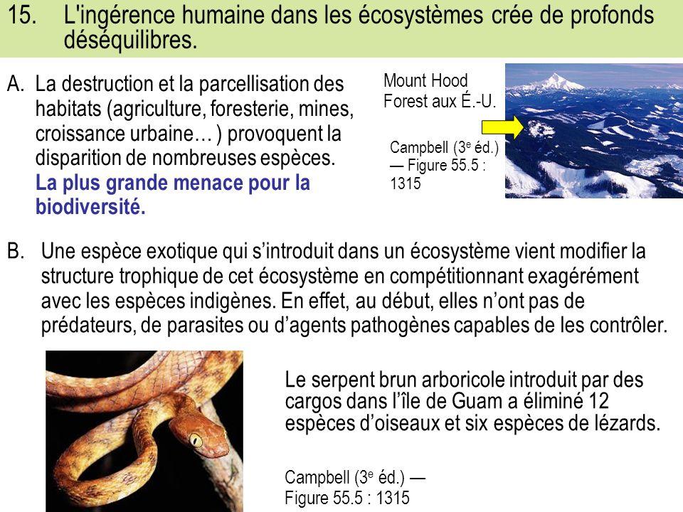15.L ingérence humaine dans les écosystèmes crée de profonds déséquilibres.