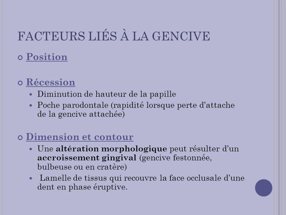 FACTEURS LIÉS À LA GENCIVE Position Récession Diminution de hauteur de la papille Poche parodontale (rapidité lorsque perte dattache de la gencive att