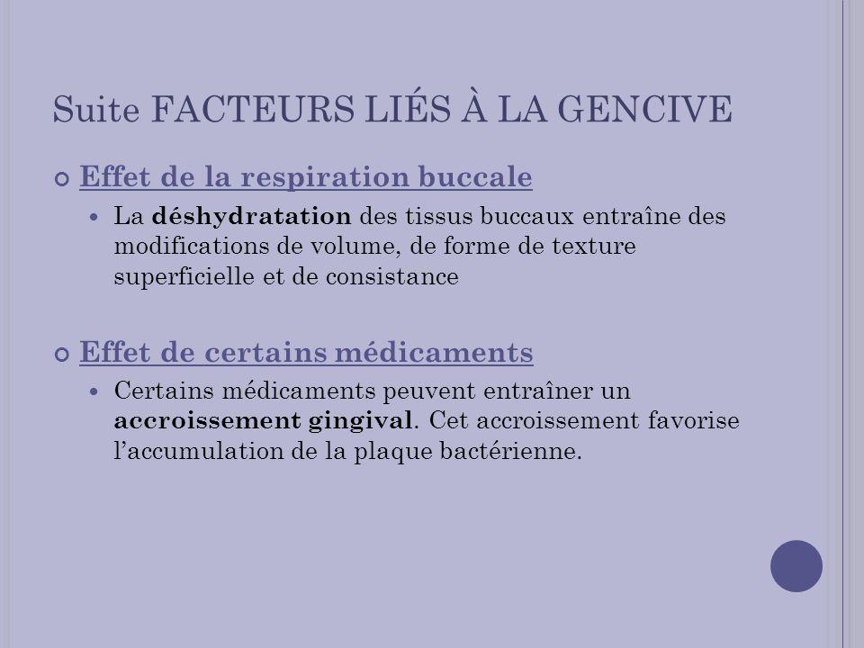 Suite FACTEURS LIÉS À LA GENCIVE Effet de la respiration buccale La déshydratation des tissus buccaux entraîne des modifications de volume, de forme d