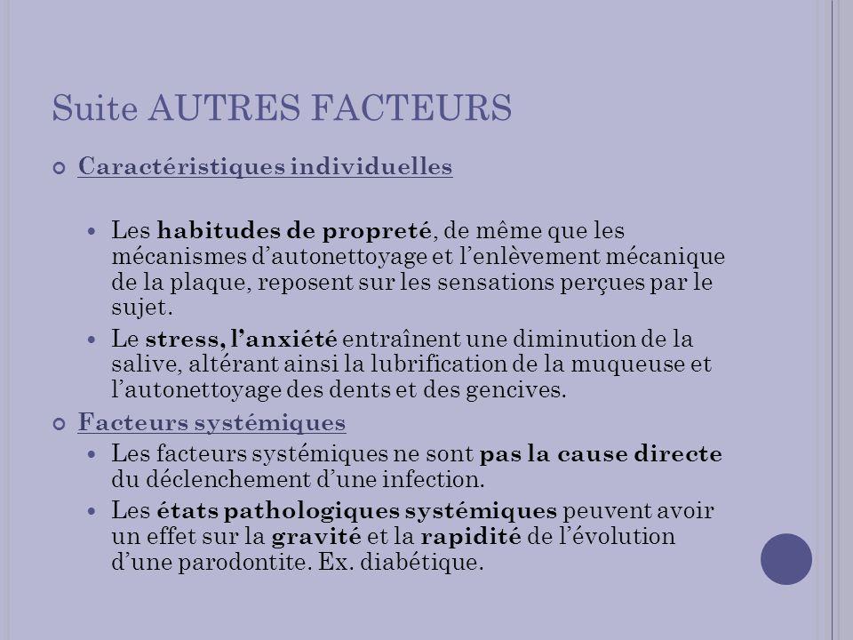 Suite AUTRES FACTEURS Caractéristiques individuelles Les habitudes de propreté, de même que les mécanismes dautonettoyage et lenlèvement mécanique de