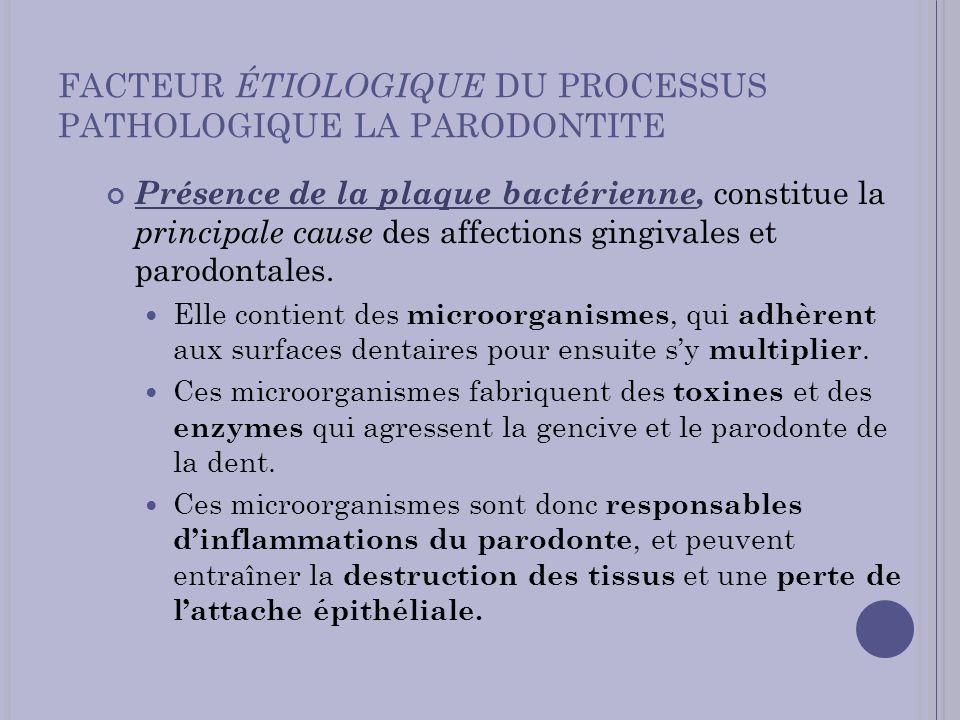 FACTEUR ÉTIOLOGIQUE DU PROCESSUS PATHOLOGIQUE LA PARODONTITE Présence de la plaque bactérienne, constitue la principale cause des affections gingivale