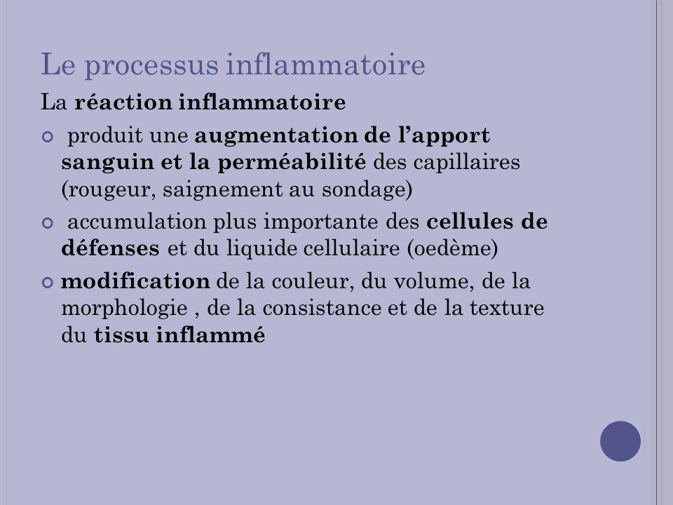 Le processus inflammatoire La réaction inflammatoire produit une augmentation de lapport sanguin et la perméabilité des capillaires (rougeur, saigneme