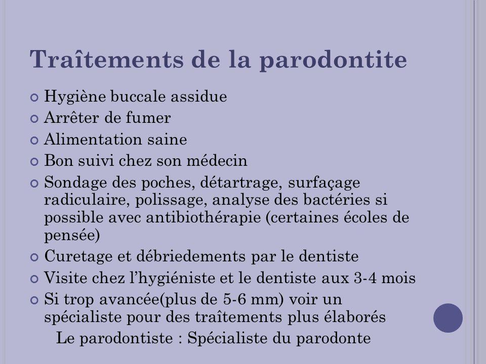 Traîtements de la parodontite Hygiène buccale assidue Arrêter de fumer Alimentation saine Bon suivi chez son médecin Sondage des poches, détartrage, s