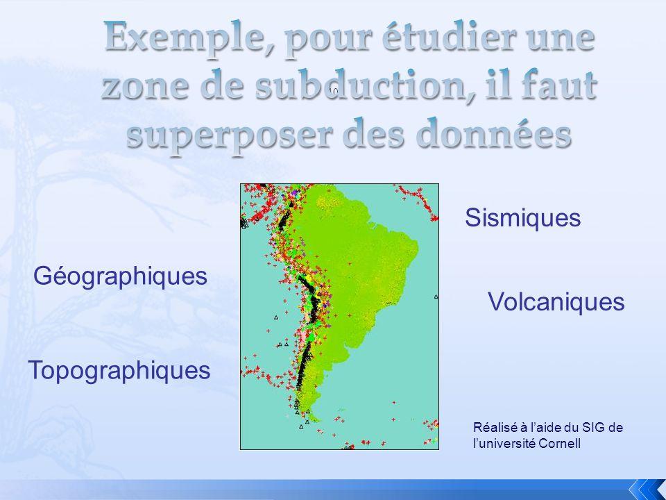 10 Géographiques Topographiques Sismiques Volcaniques Réalisé à laide du SIG de luniversité Cornell