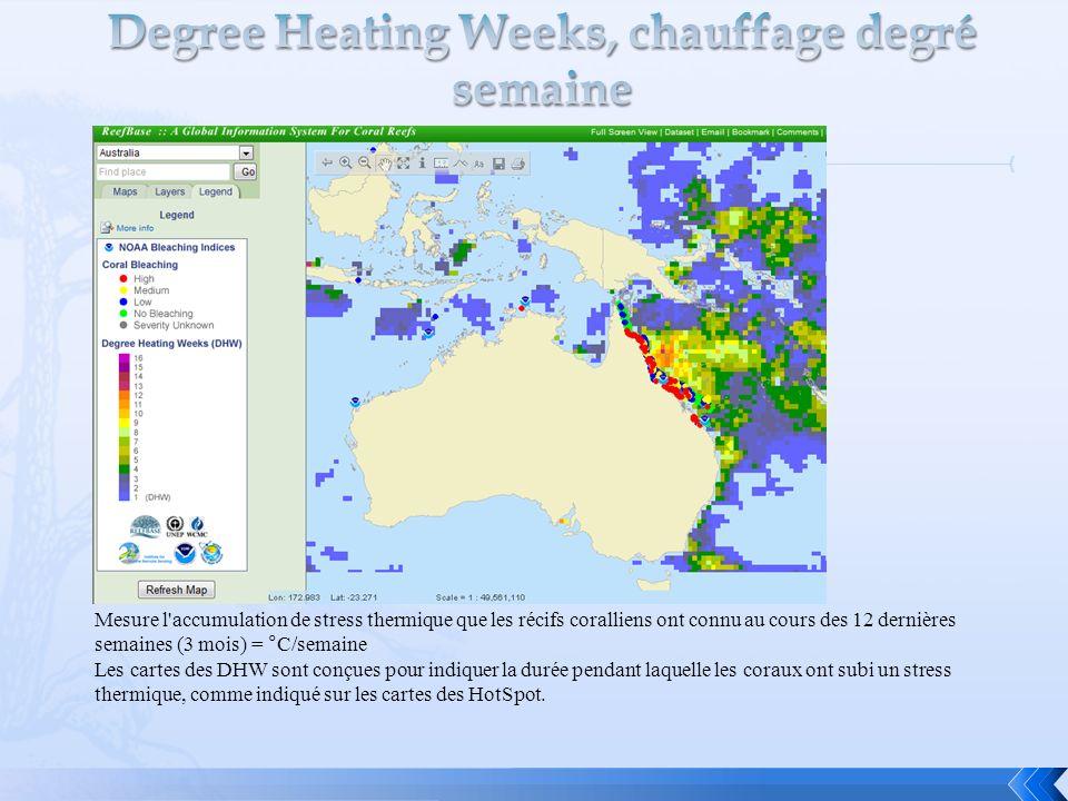 Mesure l'accumulation de stress thermique que les récifs coralliens ont connu au cours des 12 dernières semaines (3 mois) = °C/semaine Les cartes des