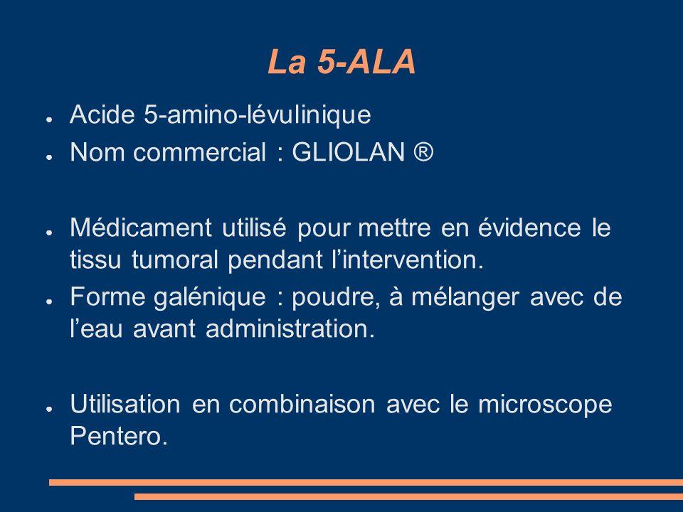 La 5-ALA Acide 5-amino-lévulinique Nom commercial : GLIOLAN ® Médicament utilisé pour mettre en évidence le tissu tumoral pendant lintervention. Forme