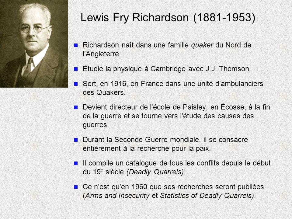 Lewis Fry Richardson (1881-1953) n Richardson naît dans une famille quaker du Nord de lAngleterre. n Étudie la physique à Cambridge avec J.J. Thomson.