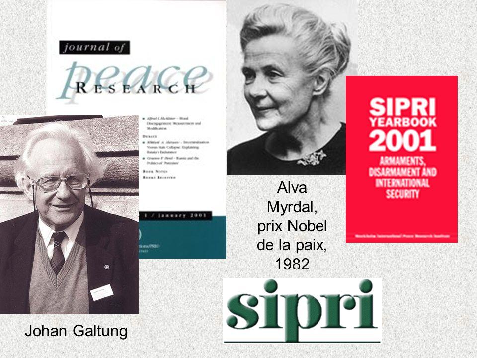 Johan Galtung Alva Myrdal, prix Nobel de la paix, 1982