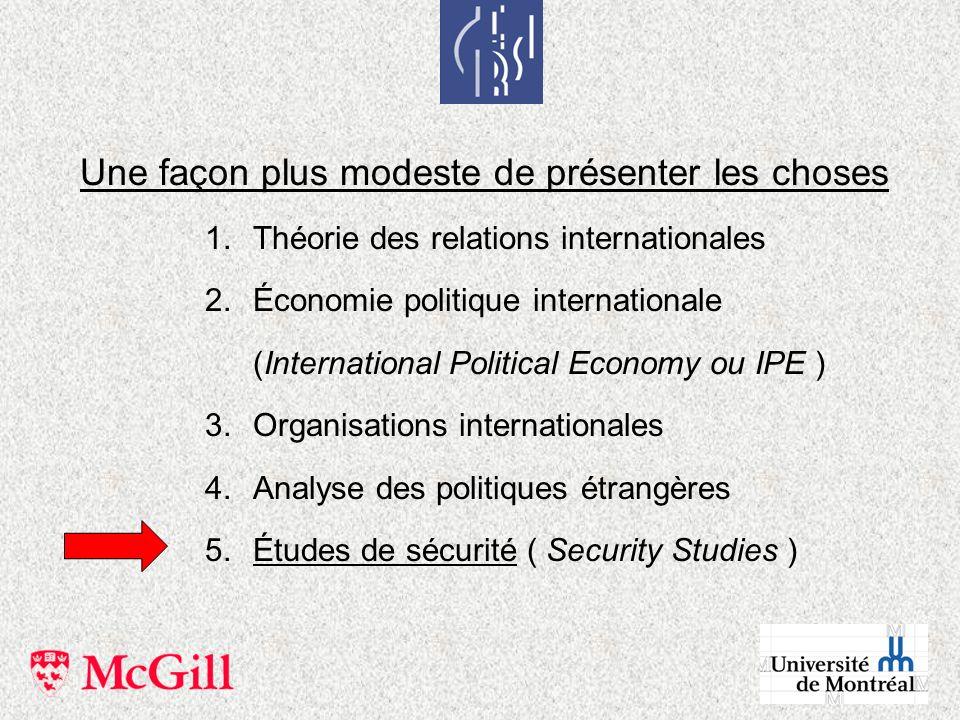 Une façon plus modeste de présenter les choses 1.Théorie des relations internationales 2.Économie politique internationale (International Political Ec