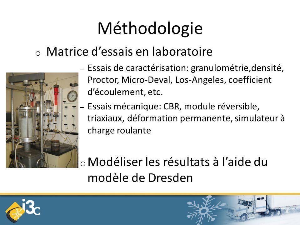 Méthodologie o Matrice dessais en laboratoire – Essais de caractérisation: granulométrie,densité, Proctor, Micro-Deval, Los-Angeles, coefficient découlement, etc.