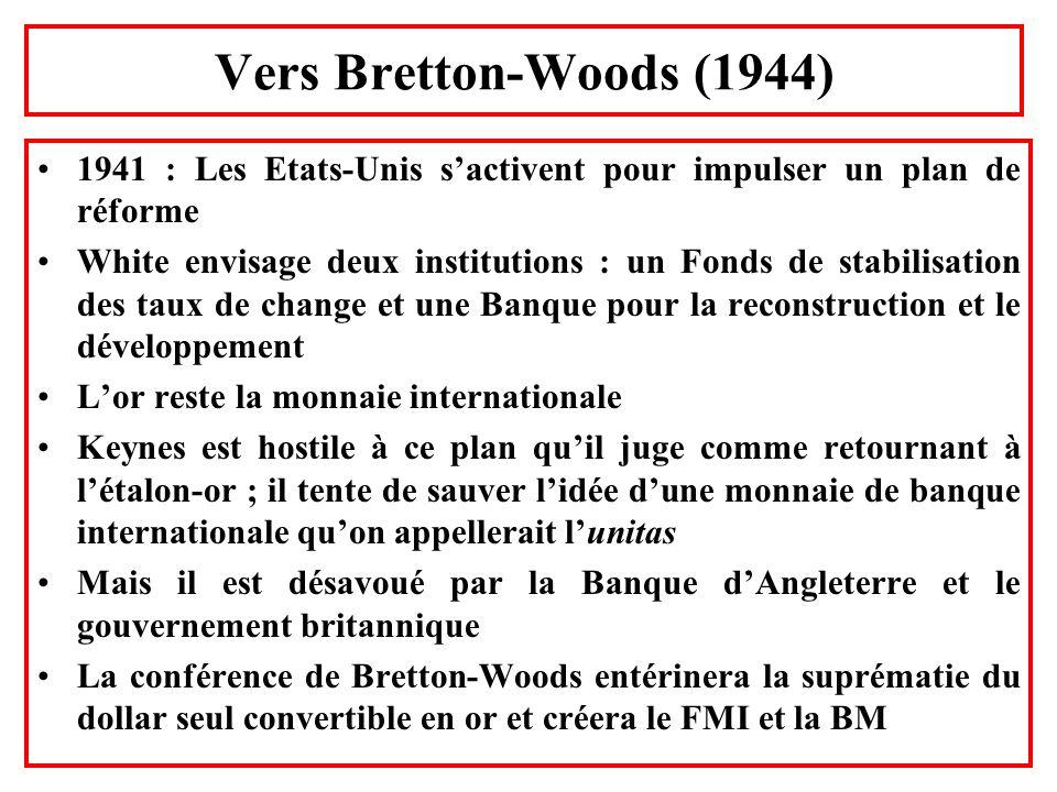 Vers Bretton-Woods (1944) 1941 : Les Etats-Unis sactivent pour impulser un plan de réforme White envisage deux institutions : un Fonds de stabilisatio
