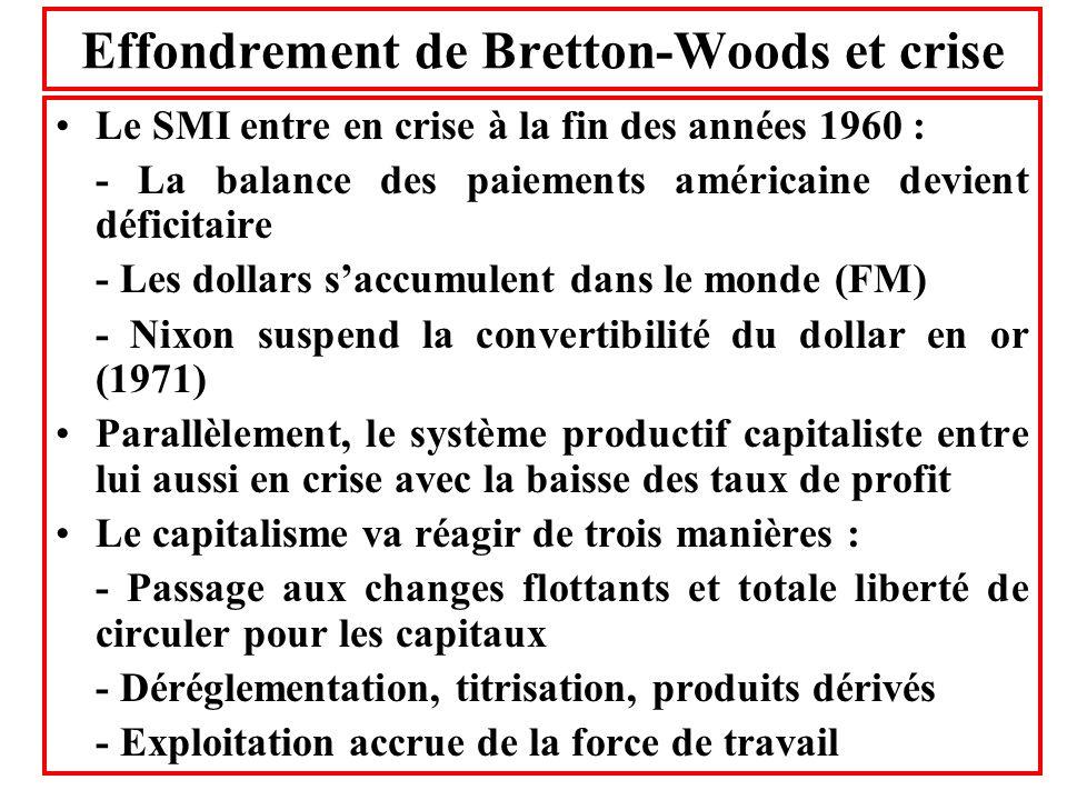 Effondrement de Bretton-Woods et crise Le SMI entre en crise à la fin des années 1960 : - La balance des paiements américaine devient déficitaire - Le