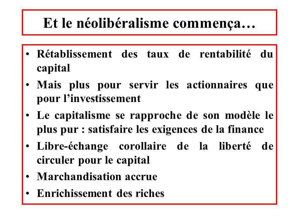 Et le néolibéralisme commença… Rétablissement des taux de rentabilité du capital Mais plus pour servir les actionnaires que pour linvestissement Le ca