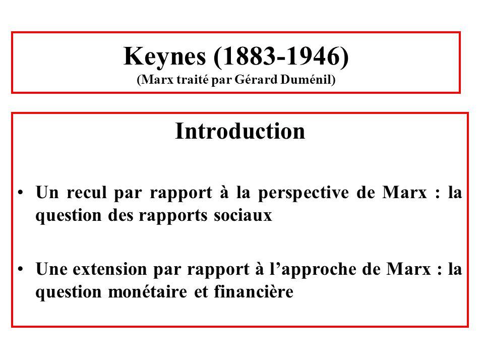 Keynes (1883-1946) (Marx traité par Gérard Duménil) Introduction Un recul par rapport à la perspective de Marx : la question des rapports sociaux Une
