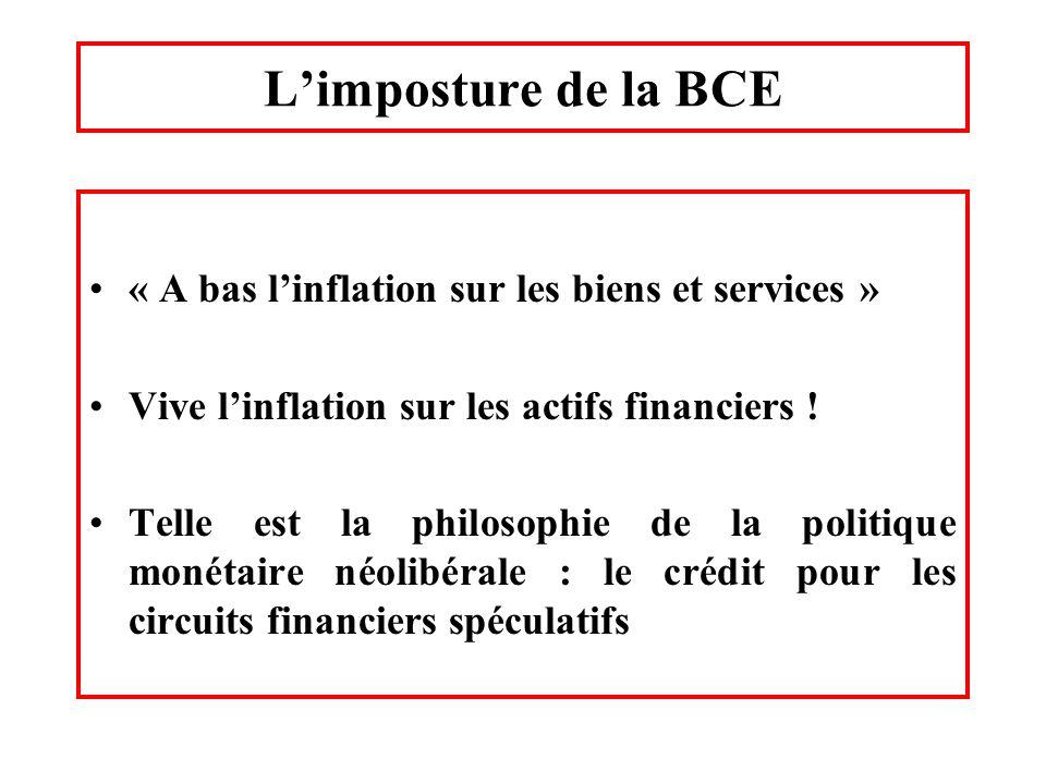 Limposture de la BCE « A bas linflation sur les biens et services » Vive linflation sur les actifs financiers ! Telle est la philosophie de la politiq