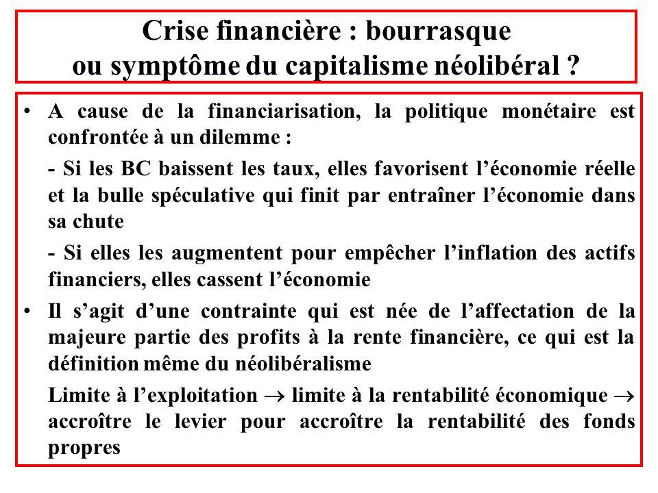 Crise financière : bourrasque ou symptôme du capitalisme néolibéral ? A cause de la financiarisation, la politique monétaire est confrontée à un dilem