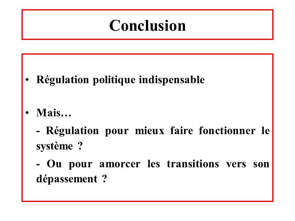 Conclusion Régulation politique indispensable Mais… - Régulation pour mieux faire fonctionner le système ? - Ou pour amorcer les transitions vers son