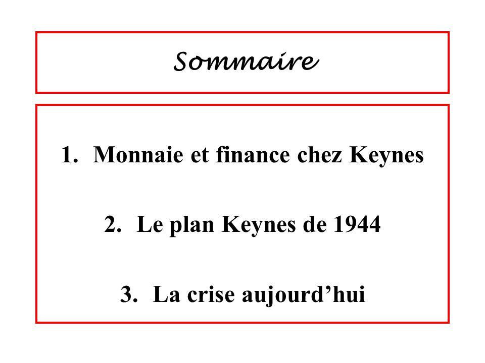 Sommaire 1.Monnaie et finance chez Keynes 2.Le plan Keynes de 1944 3.La crise aujourdhui
