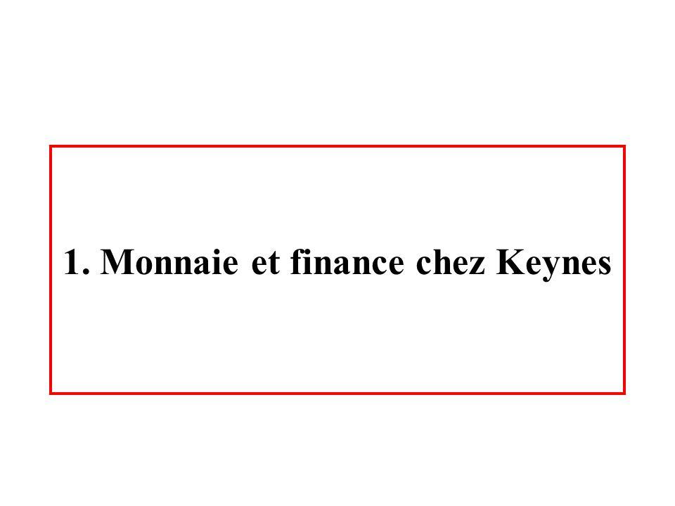 1. Monnaie et finance chez Keynes
