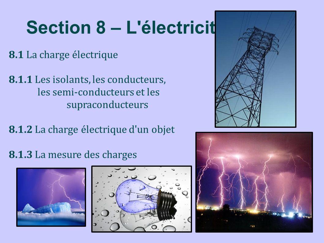 Section 8 – L'électricité 8.1 La charge électrique 8.1.1 Les isolants, les conducteurs, les semi-conducteurs et les supraconducteurs 8.1.2 La charge é