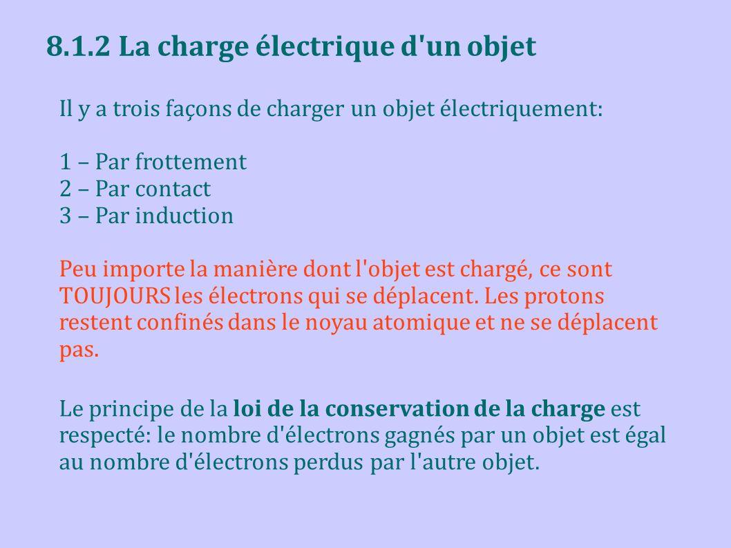8.1.2 La charge électrique d'un objet Il y a trois façons de charger un objet électriquement: 1 – Par frottement 2 – Par contact 3 – Par induction Peu