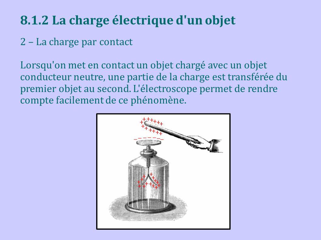 8.1.2 La charge électrique d'un objet 2 – La charge par contact Lorsqu'on met en contact un objet chargé avec un objet conducteur neutre, une partie d