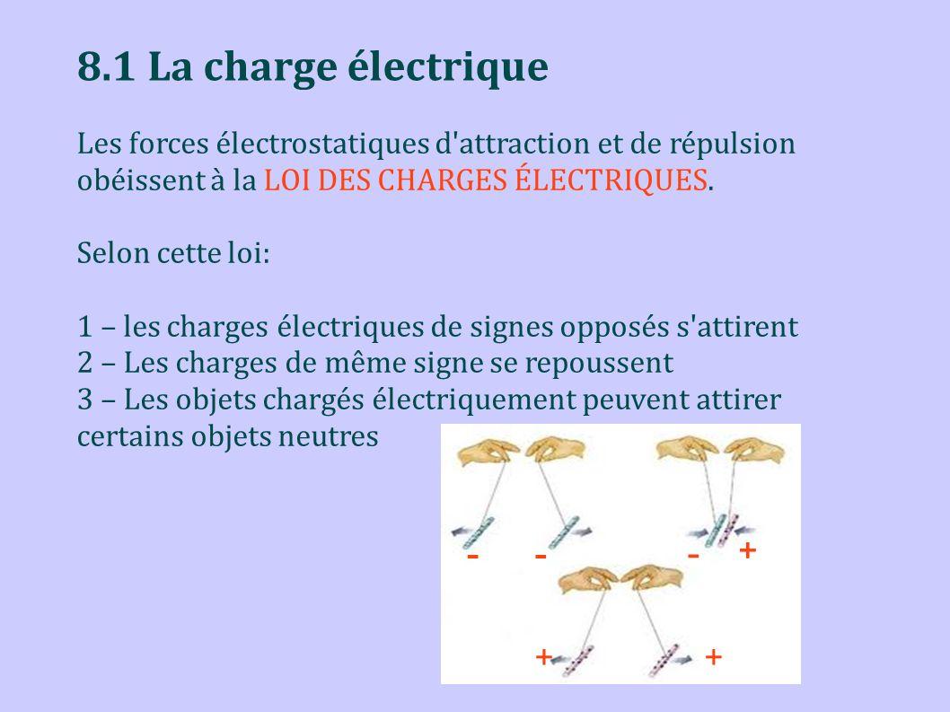 8.1 La charge électrique Les forces électrostatiques d'attraction et de répulsion obéissent à la LOI DES CHARGES ÉLECTRIQUES. Selon cette loi: 1 – les