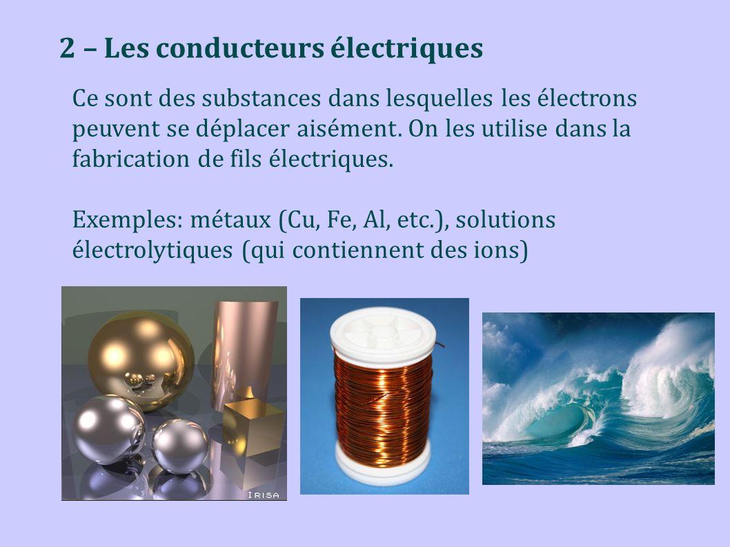 2 – Les conducteurs électriques Ce sont des substances dans lesquelles les électrons peuvent se déplacer aisément. On les utilise dans la fabrication