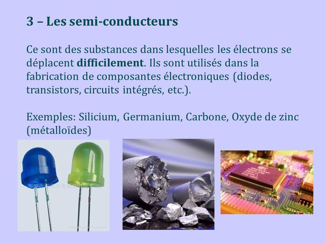 3 – Les semi-conducteurs Ce sont des substances dans lesquelles les électrons se déplacent difficilement. Ils sont utilisés dans la fabrication de com